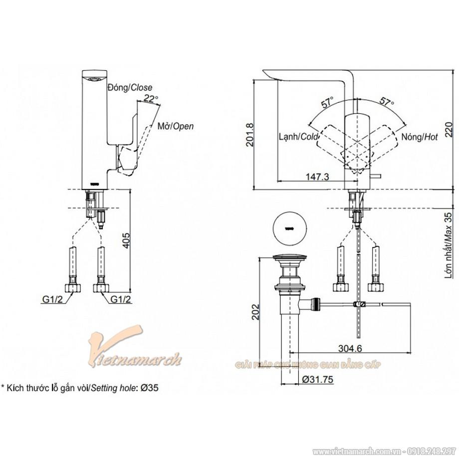 Kích thước vòi rửa mặt TOTO TLG02309B nóng lạnh cổ cao