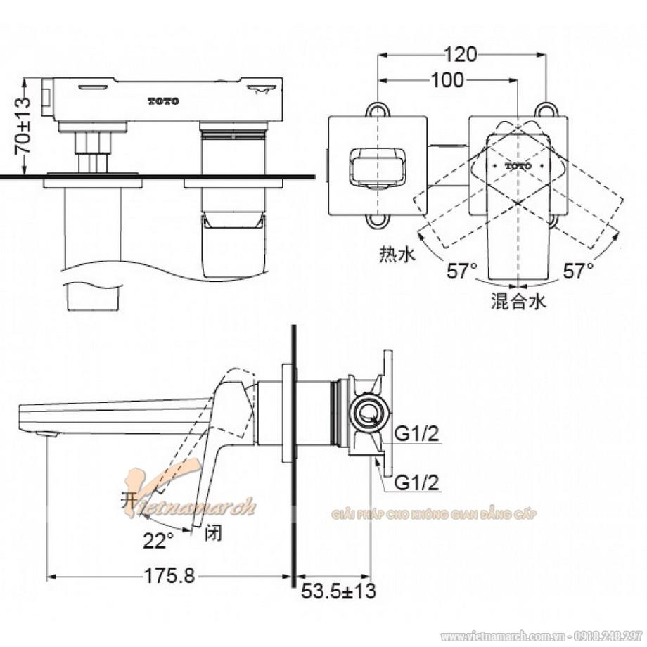 Kích thước vòi rửa mặt TOTO TLG10307B nóng lạnh gắn tường