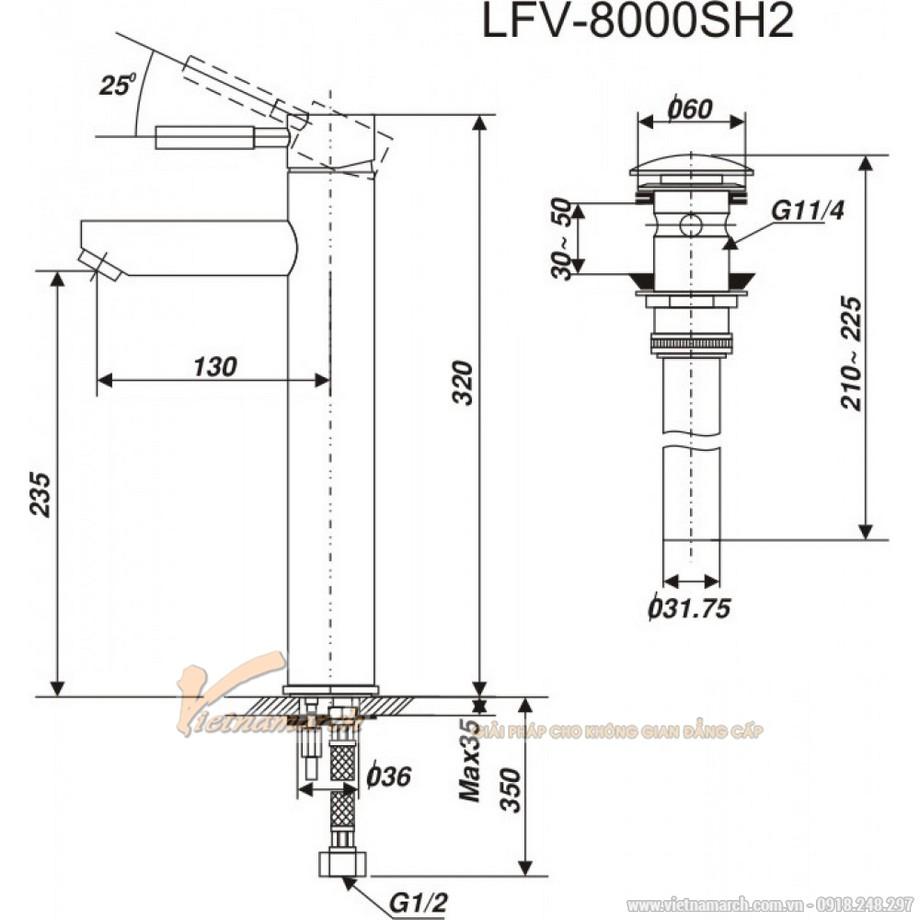 Kích thước vòi rửa mặt Inax LFV-8000SH2 nóng lạnh cổ cao