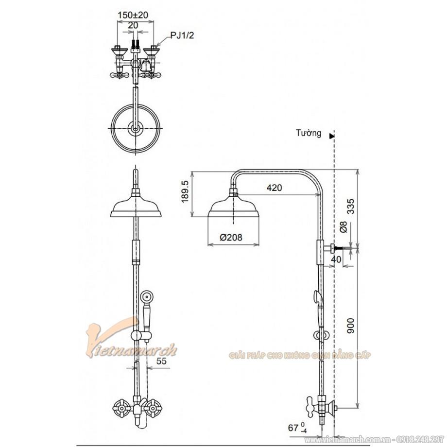 Kích thước vòi sen cây TOTO TX492SCR nóng lạnh, đường kính 208mm