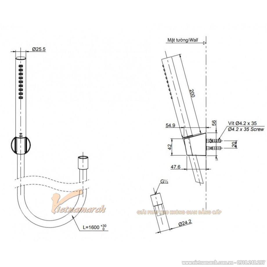 Kích thước vòi sen treo tường TOTO TBG01302V/TBW02017A nóng lạnh