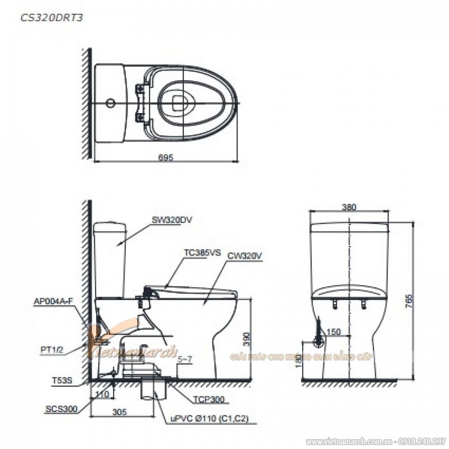 Kích thước xí bệtToto 2 khối CS320DRT3