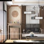 Mẫu nội thất phòng thờ đẹp gỗ sồi cho nhà lô, nhà ống, nhà phố