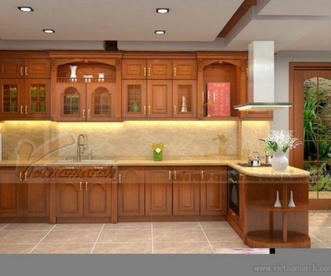 Tủ bếp kết hợp bàn thờ tiện dụng
