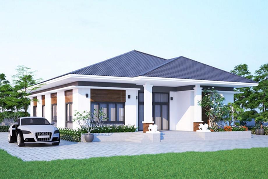 Thiết kế biệt thự mini hiện đại với tông màu xanh trắng
