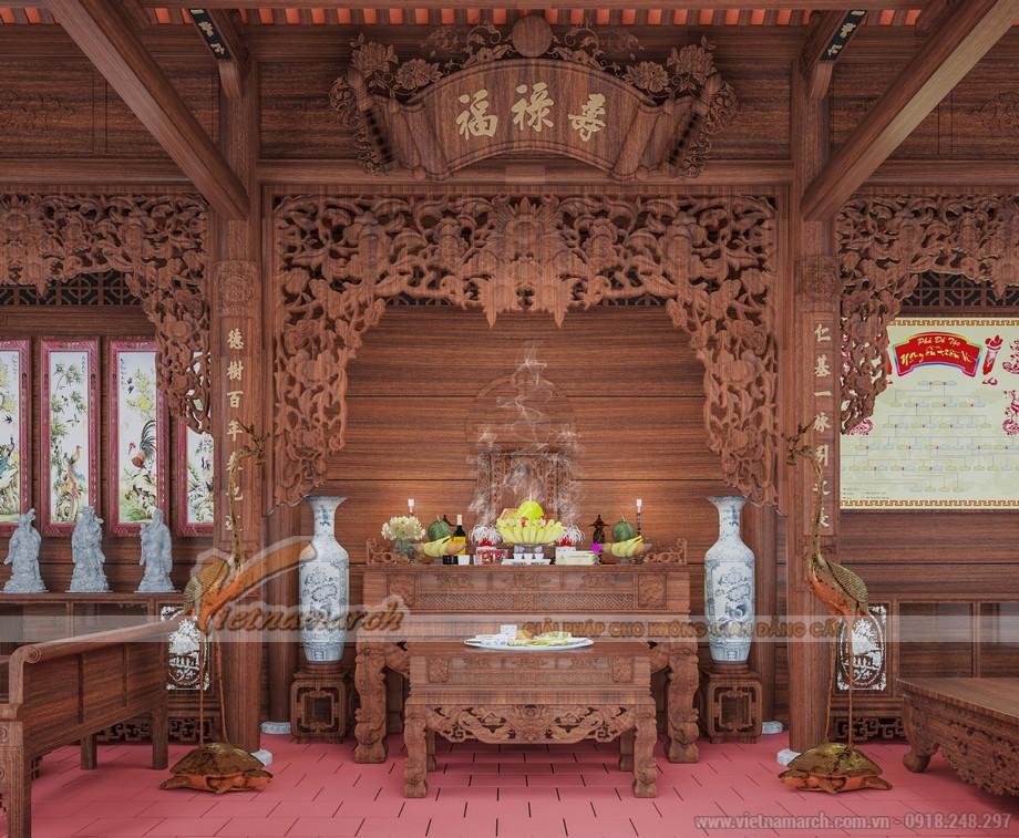 Mẫu nhà thờ họ gỗ lim 3 gian 2 mái diện tích 70m2 tại Hải Phòng