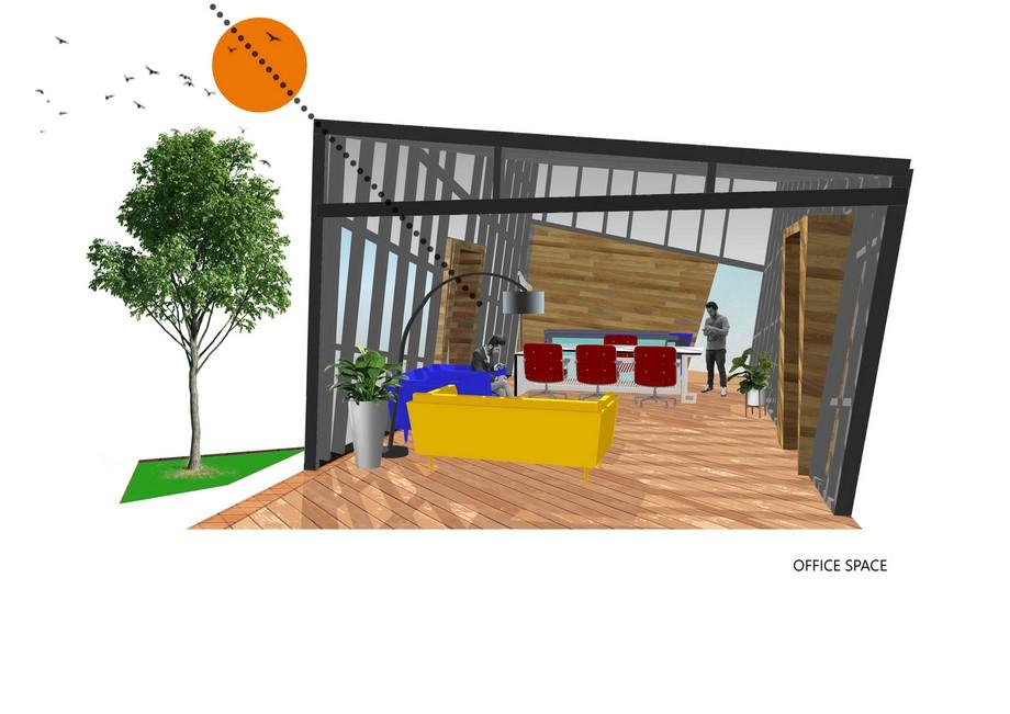 Thiết kế văn phòng 1243 trên tầng thượng