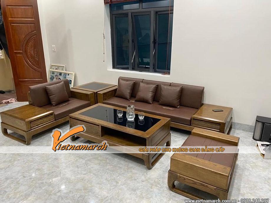 Mẫu bàn ghế Sofa gỗ sồi hiện đại giá rẻ