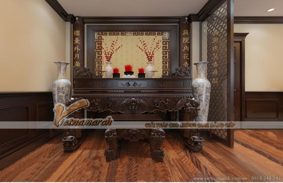 Cách bài trí bàn thờ Ngũ tự và bàn thờ gia tiên cho hòa hợp.