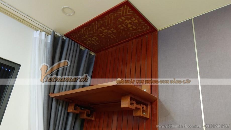 Tổng hợp các mẫu bàn thờ treo gỗ sồi có tấm chắn khói đẹp nhất hiện nay