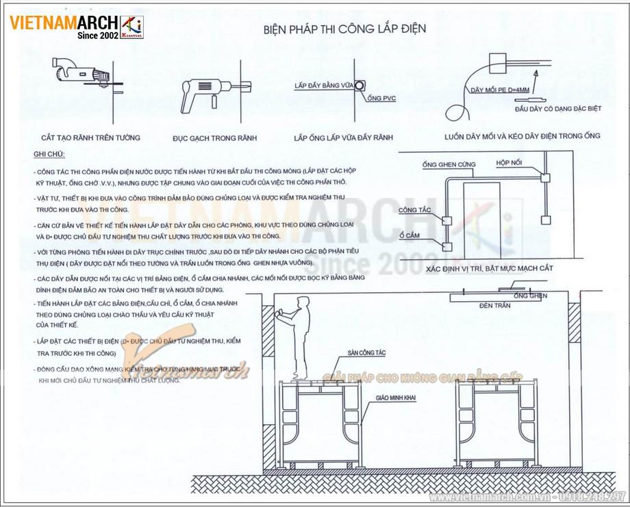 Biện pháp kỹ thuật thi công điện, nước trong thi công văn phòng