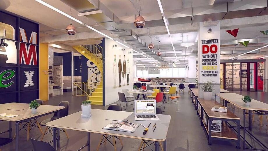 Không gian coworking theo phong cách sáng tạo nhiều màu sắc