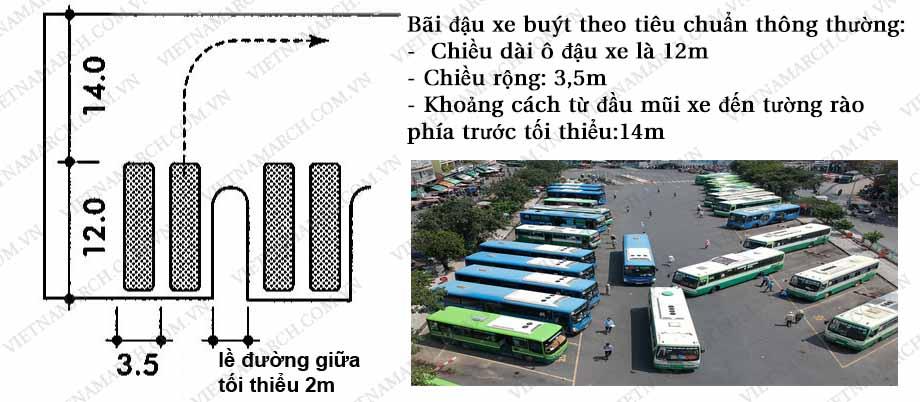 Quy định về tiêu chuẩn bãi đậu xe bus thông dụng