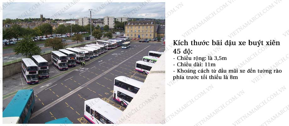 Tiêu chuẩn về kích thước bãi đậu xe bus 45 độ