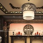 Thiết kế nhà thờ họ, nhà gỗ đẹp và trang nghiêm bằng mẫu đèn trang trí