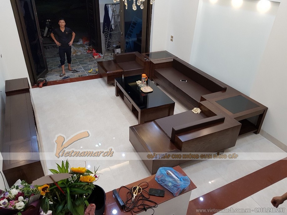 Mẫu sofa gỗ sồi SF07