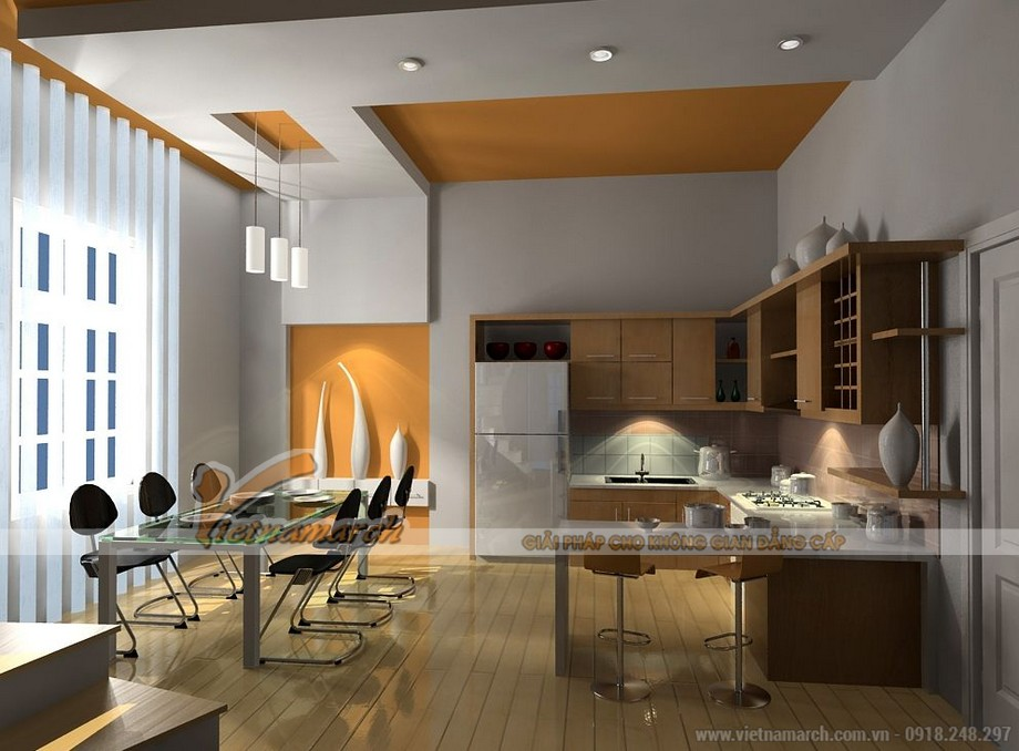 Mẫu trần thạch cao chữ L cho không gian phòng bếp