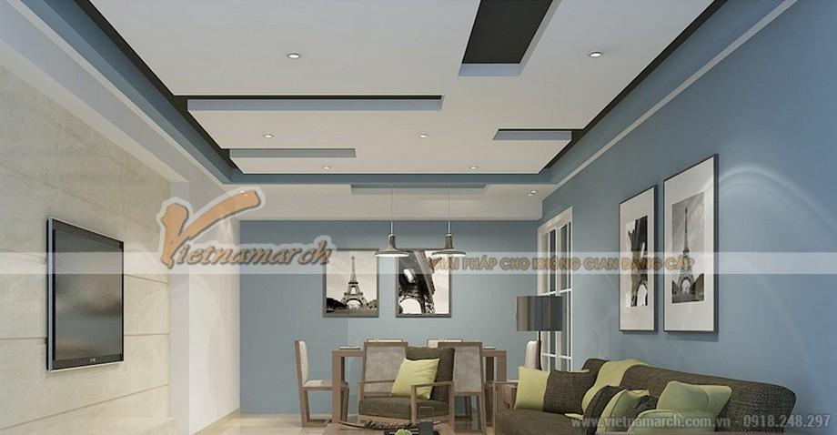 Mẫu trần thạch cao chữ L cho không gian phòng khách