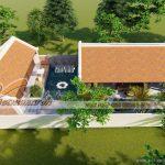 Chi tiết mẫu thiết kế nhà thờ họ 3 gian 60m2 liền nhà ngang tại Nha Trang