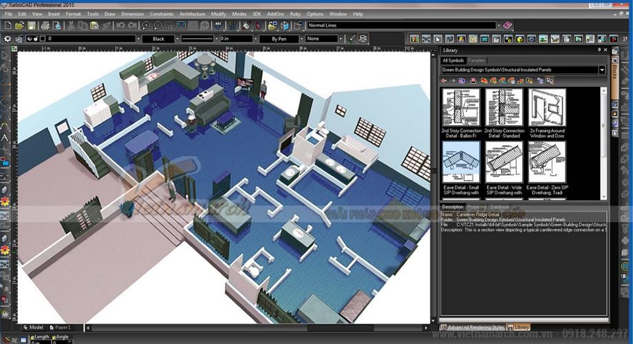 Phần mềm thiết kế văn phòng 3D TurboCAD Deluxe