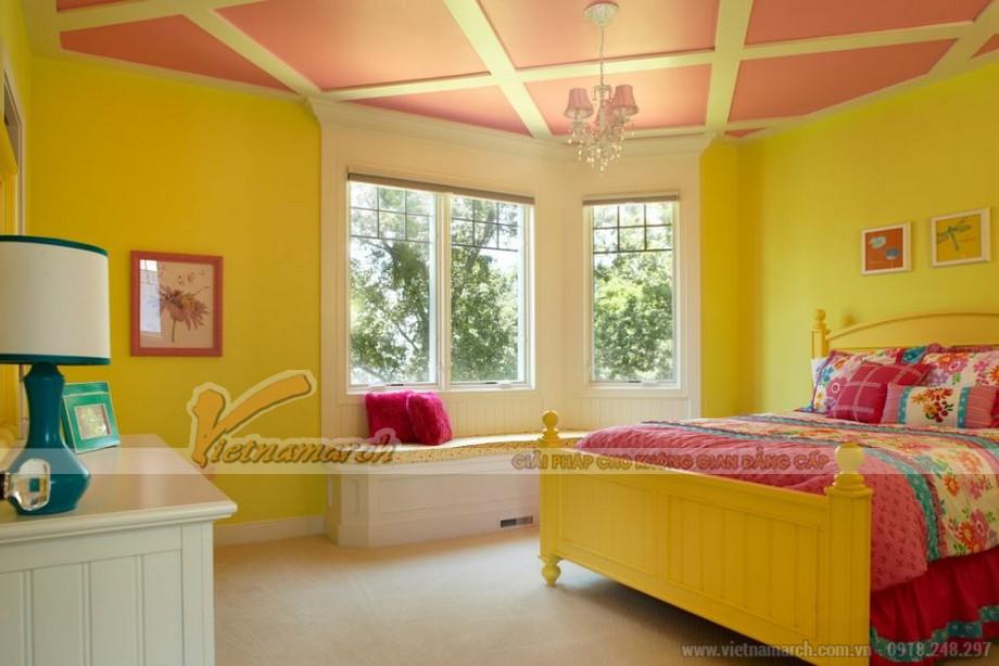 Phối màu sơn trần thạch cao phòng ngủ đẹp