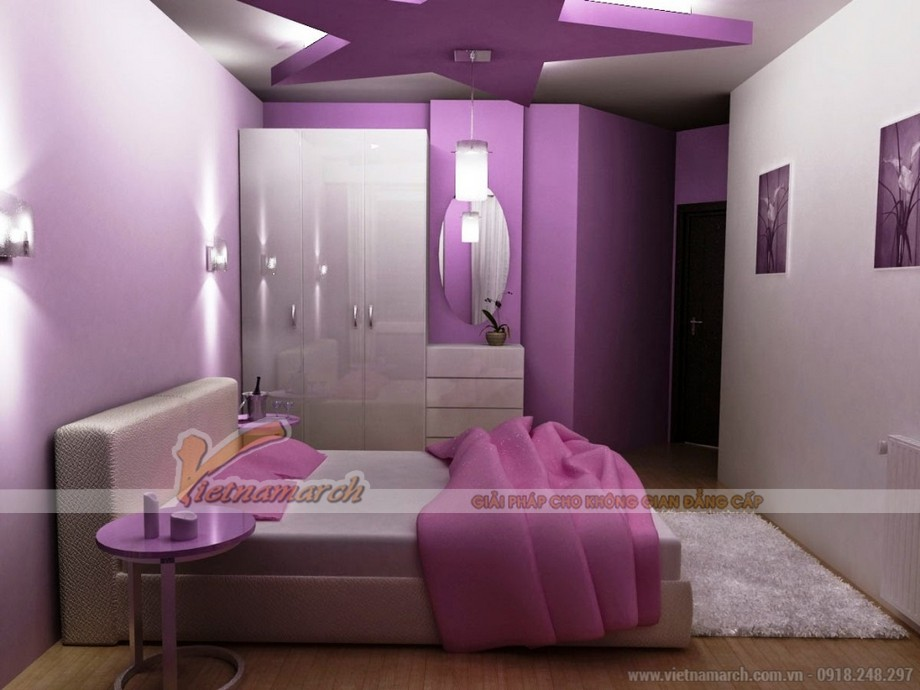 phối màu sơn trần nhà phòng ngủ đẹp