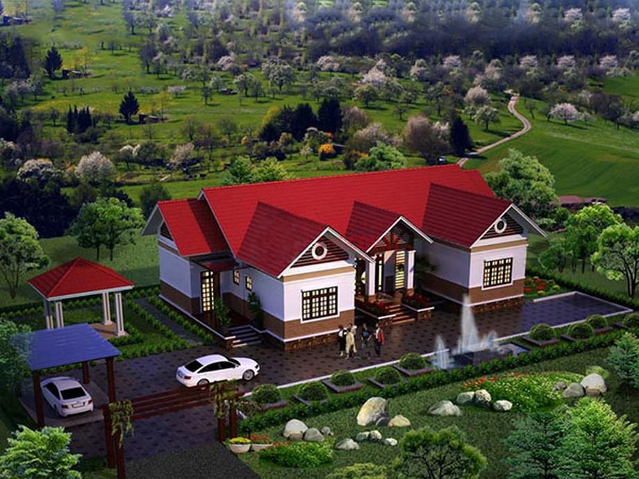 Thiết kế biệt thự nhà vườn 1 tầng đẹp