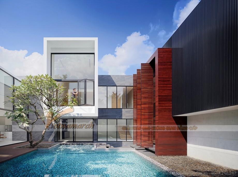 Mẫu nhà phố có bể bơi trước nhà