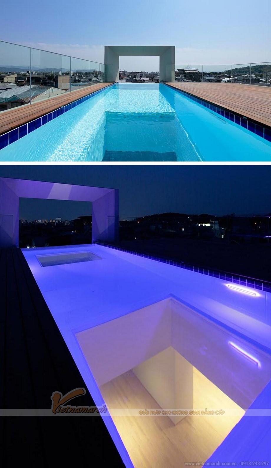 Thiết kế nhà ống có bể bơi trên sân thượng