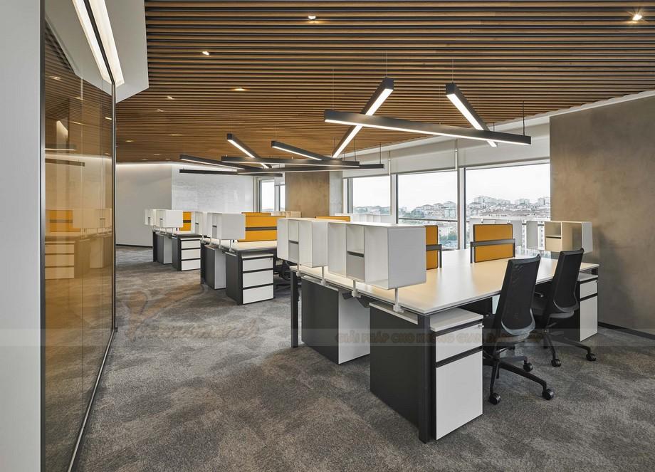 mẫu thiết kế văn phòng làm việc hiện đại ấn tượng