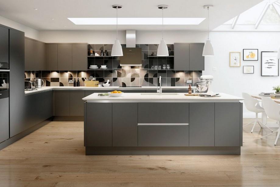 Trần thạch cao phẳng phòng bếp