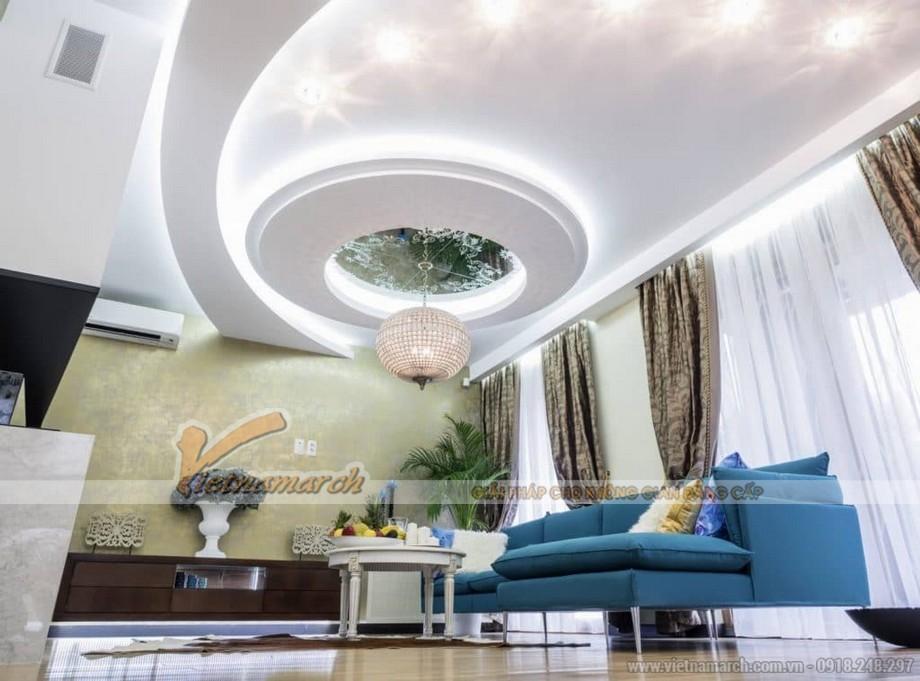 Trần thạch cao phòng khách hình chữ S