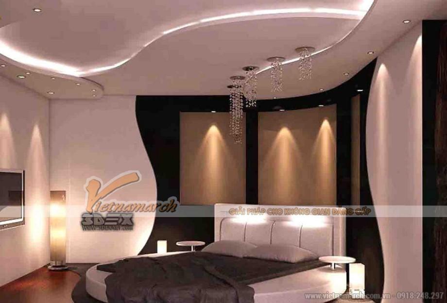 Trần thạch cao phòng ngủ hình chữ S