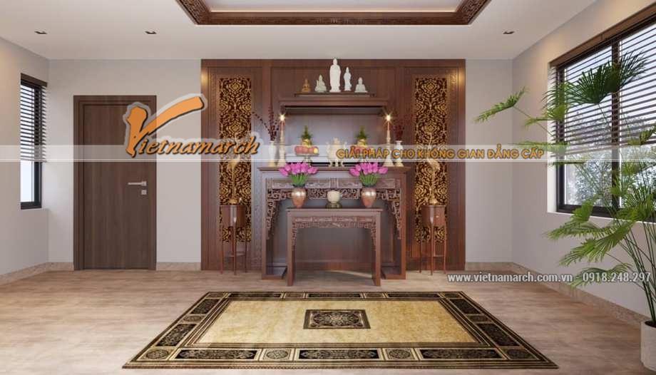 Trần thạch cao phòng thờ kết hợp gỗ CNc