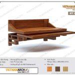 Bàn thờ treo tường gỗ gụ BTT15 – giải pháp bàn thờ treo có ngăn kéo tránh động bát hương