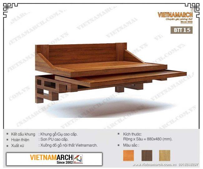 Bàn thờ treo tường gỗ gụ BTT15