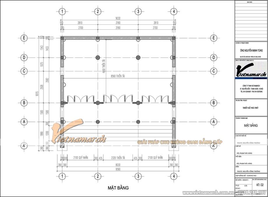 Bản vẽ thiết kế mặt bằng nhà thờ họ 3 gian kết cấu bê tông giả gỗ và phối cảnh 3DMax