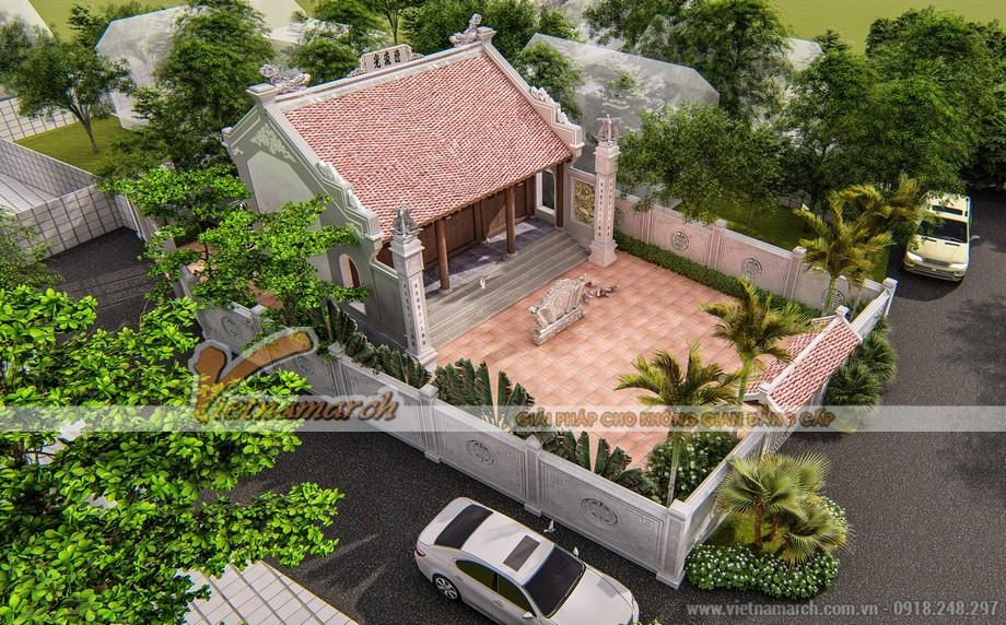Phối cảnh 3Dmax thiết kế từ đường 3 gian giả gỗ