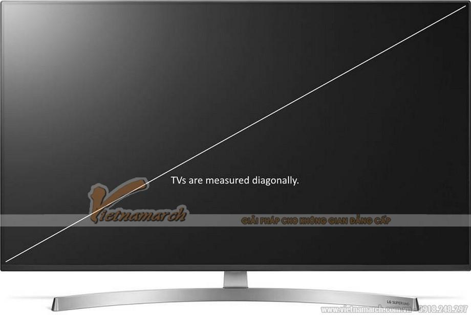 Kích thước màn hình là đường chéo nối 2 góc của tivi, đơn vị tính là inch