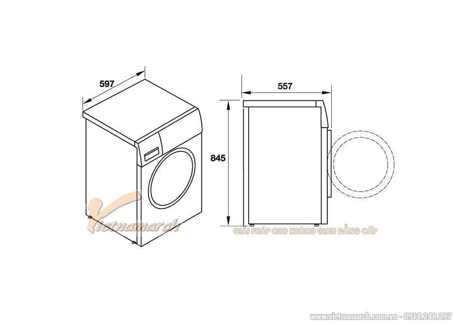 Kích thước máy giặt Hafele