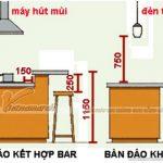 Kích thước quầy bar nhà bếp tiêu chuẩn cho các gia đình