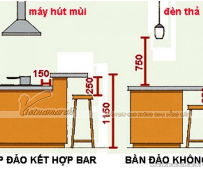 Kích thước quầy bar nhà bếp
