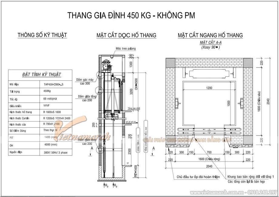 Kích thước thang máy 450kg