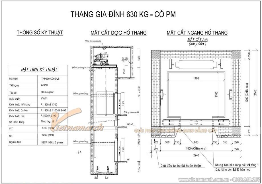 Kích thước thang máy 630kg