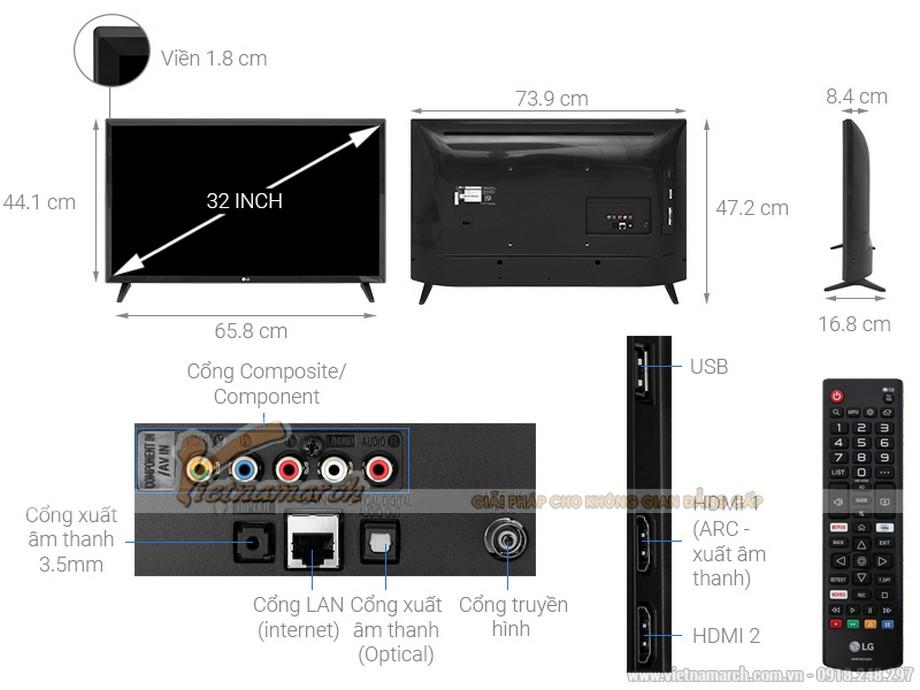 Kích thước tivi LG 32 inch