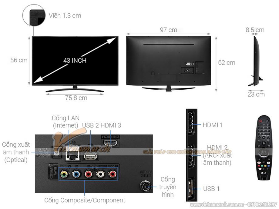 Kích thước tivi LG 43 inch