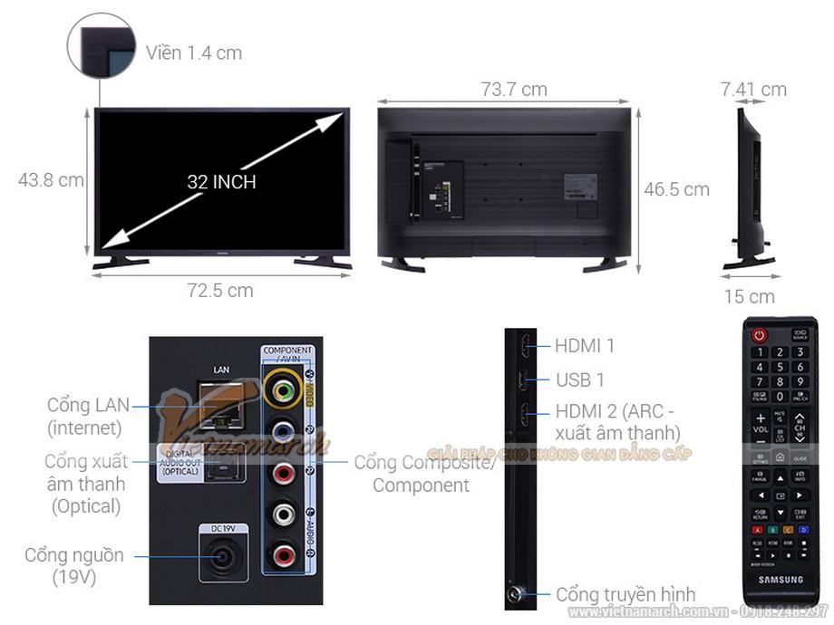 Kích thước tivi Samsung 32 inch
