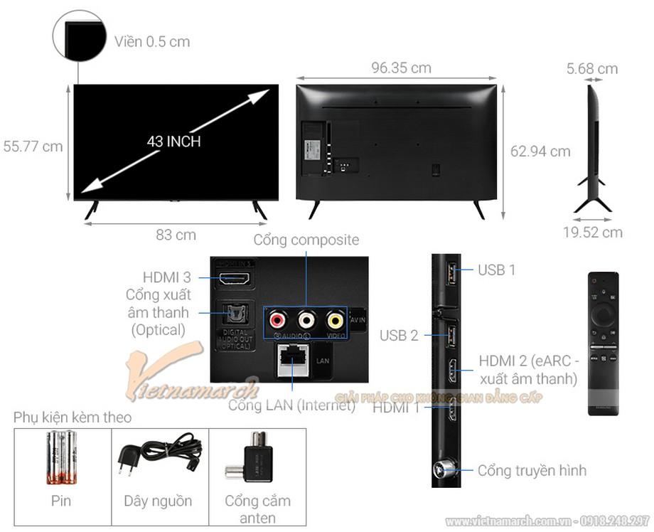 Kích thước tivi Samsung 43 inch