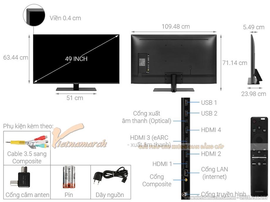 Kích thước tivi Samsung 49 inch