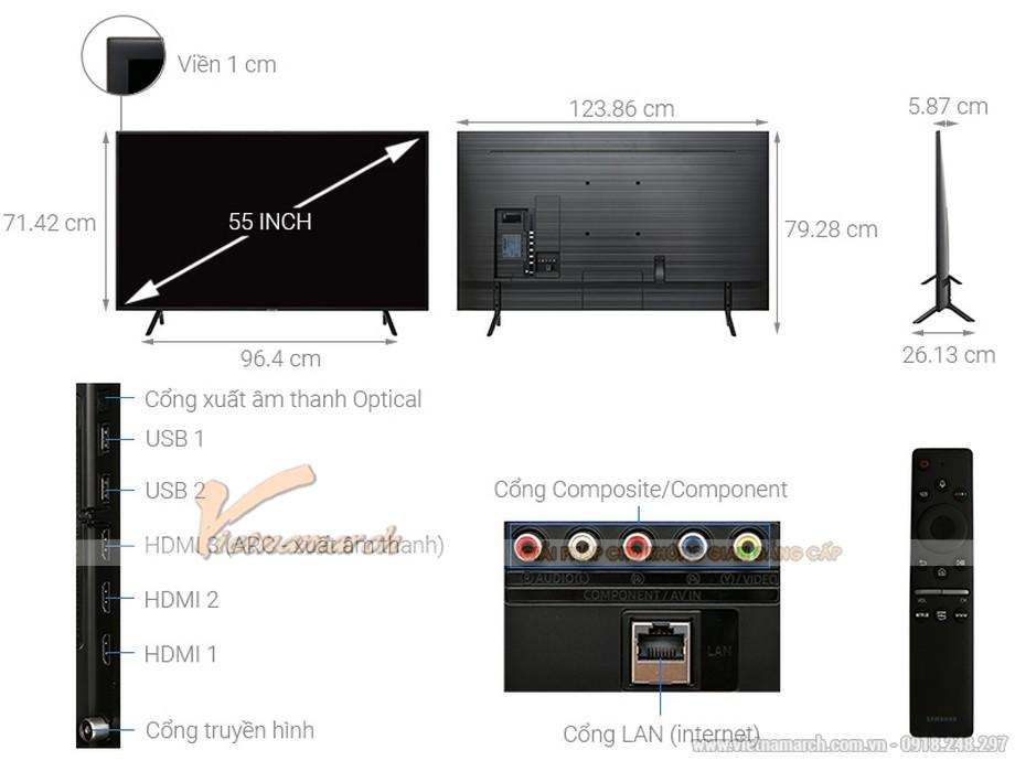 Kích thước tivi Samsung 55 inch